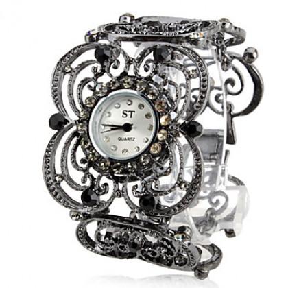 элегантный цветок женщин корону стиле сплава аналоговые кварцевые часы браслет (черный)