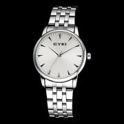 Eyki мужская простой круглый циферблат стальной ленты кварцевые аналоговые наручные часы (разные цвета)