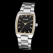Eyki мужская простой прямоугольник набора стальной ленты кварцевые аналоговые наручные часы (разные цвета)