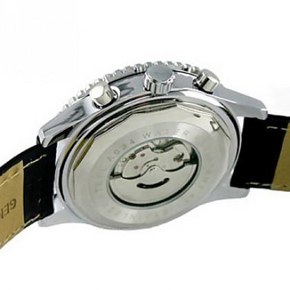 Hot! Мужские  наручные часы-скелетон из стали (механические) арт. 18507