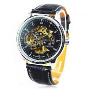 Hot! Мужские лица автоматического роскошного стали наручные часы Скелет Мужские механические часы 19