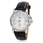 Календарь Женский стиль аналогового PU Механические наручные часы (черный)