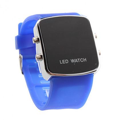 Красный светодиод пары цифровых квадратный корпус силиконовой лентой наручные часы (1-парный, синий и красный)