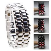 красный светодиод серебристой металлической ленты цифровой лавы стиль железа спорта женщин безликих наручные часы