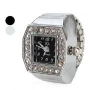 кристалл квадратный женщин сплав стиля аналоговые кварцевые часы кольцо (разных цветов)