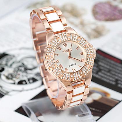 Круглый стали Женщины Кварцевые аналоговые часы платье