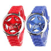 Кварцевые аналоговые пары полые звезда стиля набора силиконовой лентой наручные часы (синий и красный)