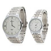 Кварцевые аналоговые пары простых удаленного Серебряный стальной ленты наручные часы