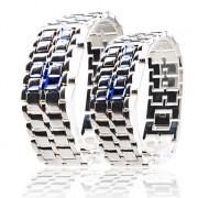 лава стиль синий светодиод цифровые часы пара (серебро)