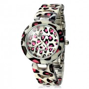Leopard Женские зерновой раунд сплав Циферблат и полосе, кварцевые аналоговые наручные часы