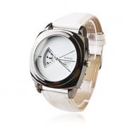 модные кварцевые наручные часы с белой полосы Кожа PU