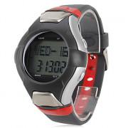 мужчины мульти-функциональный стиль резиновой цифровые автоматические наручные часы с монитор сердечного ритма (черный)