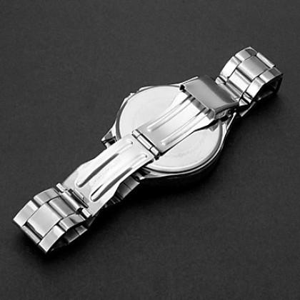 Мужская большой набор Простой стиль стали аналоговые автоматические наручные часы Повседневная часы (серебро)