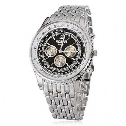 Мужская Черный круглый циферблат Стальной браслет кварцевые аналоговые наручные часы