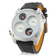 Мужская Dual Time Круглый циферблат PU Группа Кварцевые аналоговые наручные часы