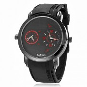 Мужская Dual Time зоны Черный стальной корпус силиконовой лентой Кварцевые аналоговые наручные часы (разных цветов)