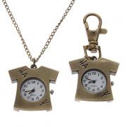 Мужская футболка Стиль сплава Кварцевый брелок Ожерелье Watch (бронза)
