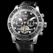 Мужская календарь Функция Auto-PU Механические аналоговые наручные часы (черный)