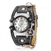 Мужская Компас череп шаблон Круглый циферблат PU Группа Кварцевые аналоговые наручные часы (разных цветов)