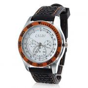 Мужская Круг силиконовой лентой Аналоговые кварцевые наручные спортивные часы (черный)