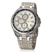 Мужская Круглый циферблат стальной ленты Кварцевые аналоговые наручные часы