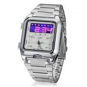 Мужская Многофункциональный аналого-цифрового набора стальной ленты наручные часы (серебро)