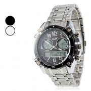 Мужская многофункциональный аналого-цифровой серебра стальной ленты наручные часы (разных цветов)