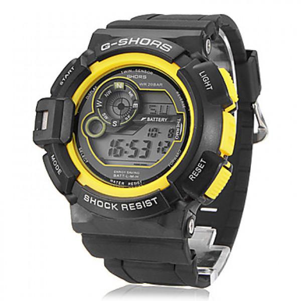 Подробнее. Мужская Многофункциональный цифровой ЖК Резиновая лента наручные часы (разных цветов