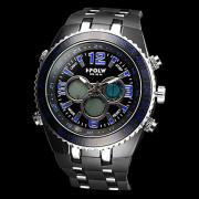 Мужская Многофункциональный Военный стиль сталь круглый циферблат аналогового Rubber Band-цифровые наручные часы (разных цветов)
