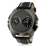 Мужская Multi-Движение Кварцевые аналоговые металл Циферблат черный PU группы наручные часы (2 часовых поясов, Черный)