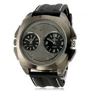Мужская Multi-Движение Кварцевые аналоговые металл Циферблат черный силиконовой лентой наручные часы (2 часовых поясов, Черный)