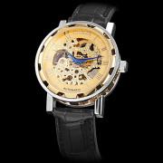 Мужская полые гравировка Авто-Механический дисковый PU Группа Аналоговые наручные часы (разных цветов)