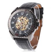 Мужская полые гравировка стиль пу аналоговые механические наручные часы (черный)