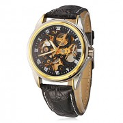 Мужская Полые набора PU Аналоговый Авто-механические наручные часы (разные цвета полоса)