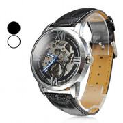Мужская полые стиле ПУ аналоговые механические наручные часы (черный)