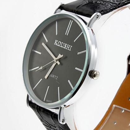 Мужская Простой элегантный дизайн PU аналоговые кварцевые наручные часы (разных цветов)