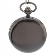 Мужская простую обложку черного сплава кварцевые часы карманные с цепочкой аналогового