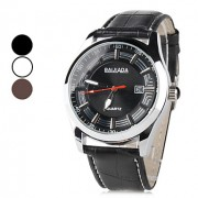 Мужская PU аналоговые кварцевые наручные часы с календарем (разных цветов)