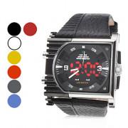 Мужская PU аналоговый - цифровой Multi-движения наручные часы (черный)