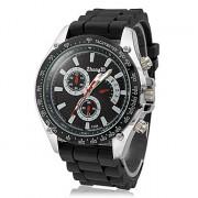 Мужская серебристый корпус силиконовой лентой Аналоговые кварцевые наручные часы (разных цветов)