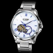 Мужская Синий серебряные руки стальной корпус Аналоговый механические наручные часы (серебро)