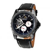 Мужская Солнце и Луна Дизайн PU Аналоговый Авто-механические наручные часы (разные цвета Dial)