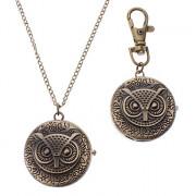 Мужская Сова стиль сплава Кварцевый брелок Ожерелье Watch (бронза)
