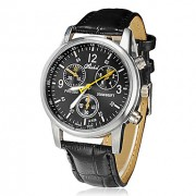 Мужская Сплав Круглый циферблат PU Группа Кварцевые аналоговые наручные часы