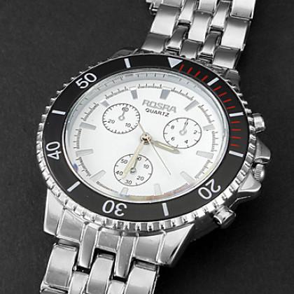Мужская спортивная Круглый циферблат Стальной браслет кварцевые аналоговые наручные часы (разных цветов)