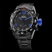 Мужские аналого-цифровые кварцевые мультиходовые LED наручные часы из стали (2 временных зоны, разные цвета)