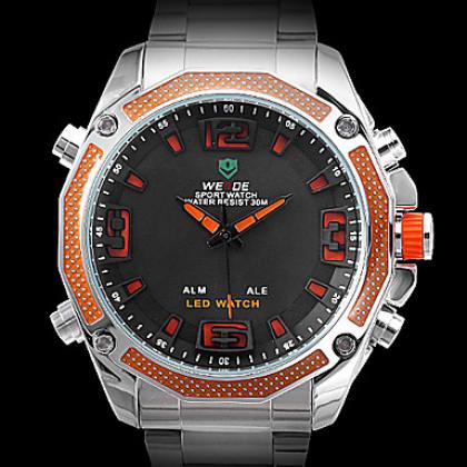Мужские аналого-цифровые мультифункциональные LED наручные часы из стали (2 временных зоны, разные цвета)