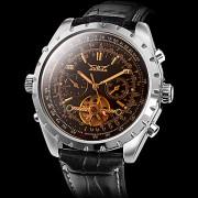 Мужские аналоговые авто-механические наручные часы с функцией календаря и ремешком из кожзама (черные)