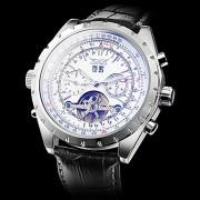 Мужские аналоговые авто-механические наручные часы с календарем и серебряными стрелками и ремешком из кожзама (разные цвета)
