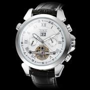 Мужские аналоговые авто-механические наручные часы с круглым белым циферблатом и ремешком из кожзама (разные цвета)